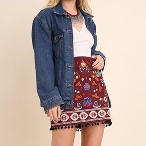 Women's High Waisted Floral Embroidered Skirt